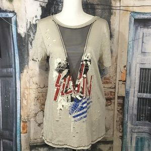 Emory Park Distressed Mesh Cut Out Tunic